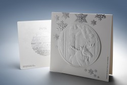 <p>Caption: The highlight of the Iggesund Christmas card is a deep, blind embossing of a moose.</p> (photo: Rolf Lavergren)