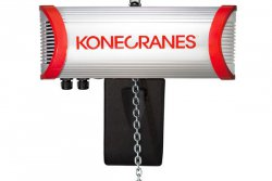 Award-winning: The SLX electric chain hoist with striking aluminum housing won the red dot award for design and value. It is exceptionally robust and has a maintenance and service hatch.© Konecranes (photo: Industrial News Service)