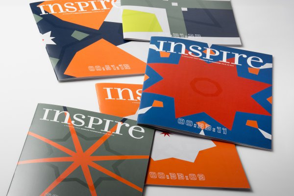 <p>Each and every one of the 22,000 covers of Iggesund Paperboard's inspirational magazine Inspire is unique, with variable printing of colour fields, varnish patterns and time codes. © Iggesund</p>